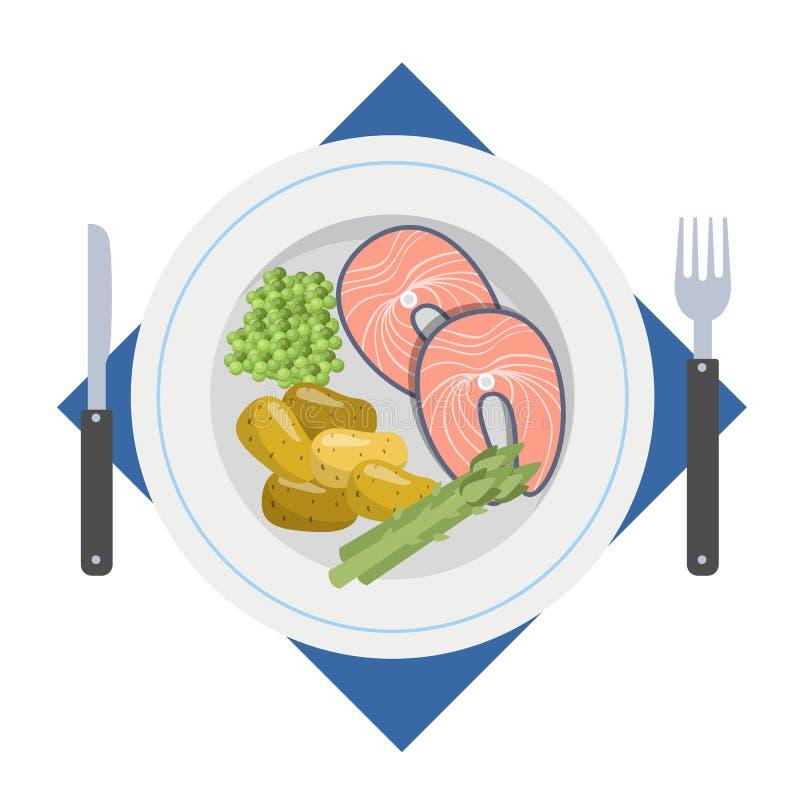 Νόστιμο γεύμα με τα ψάρια και την πατάτα απεικόνιση αποθεμάτων