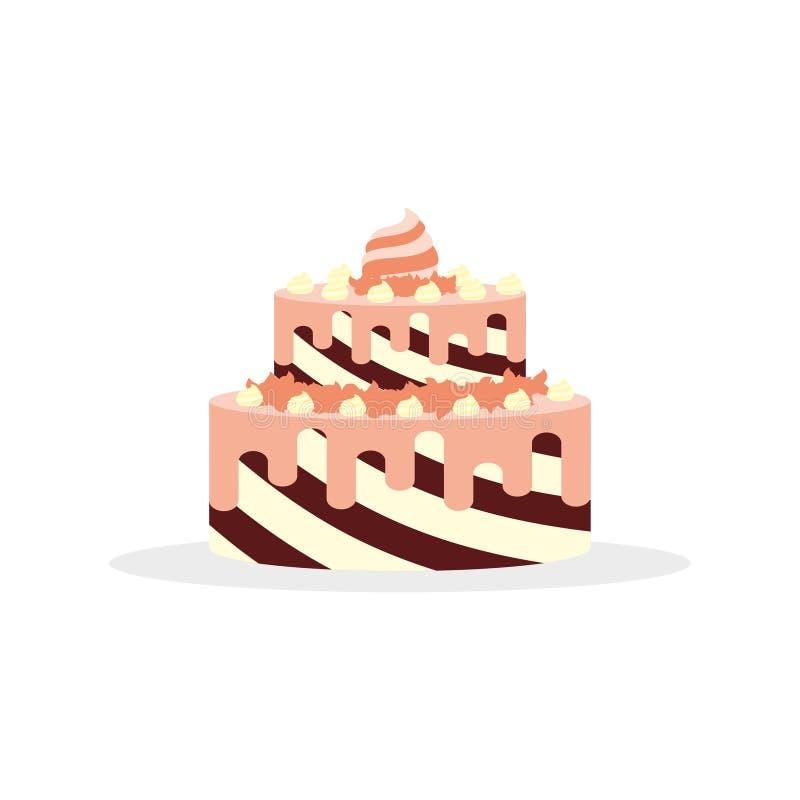 Νόστιμο κέικ με την κρέμα για τα γενέθλια, τους γάμους, τις επετείους και άλλους εορτασμούς ελεύθερη απεικόνιση δικαιώματος
