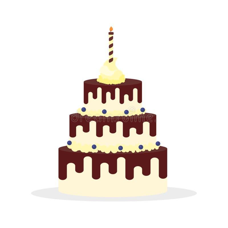 Νόστιμο κέικ με την κρέμα σοκολάτας και κερί για τα γενέθλια, τους γάμους, τις επετείους και άλλους εορτασμούς ελεύθερη απεικόνιση δικαιώματος