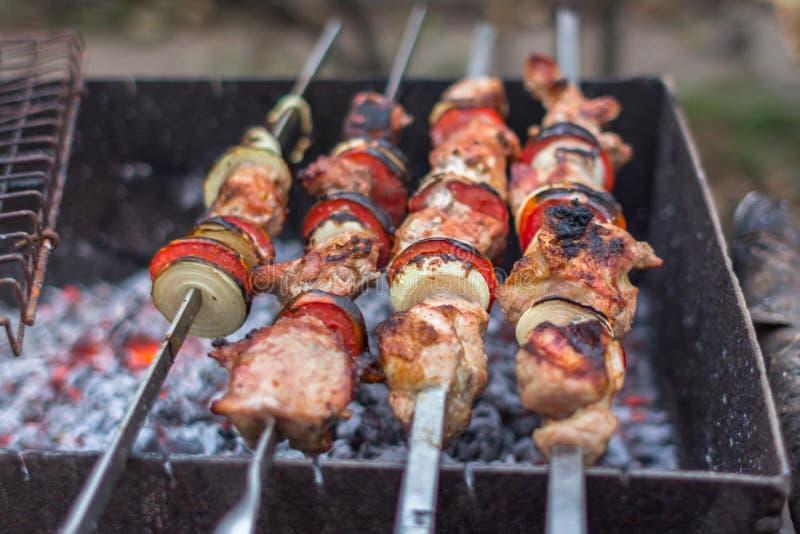 Νόστιμο κρέας στα οβελίδια στοκ φωτογραφίες