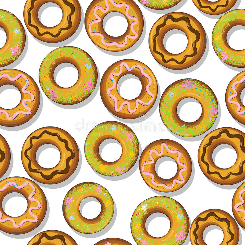 Νόστιμο πρότυπο Donuts Στοκ Φωτογραφίες