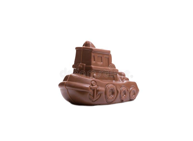 Νόστιμο σκάφος σοκολάτας που απομονώνεται στο λευκό στοκ φωτογραφία με δικαίωμα ελεύθερης χρήσης