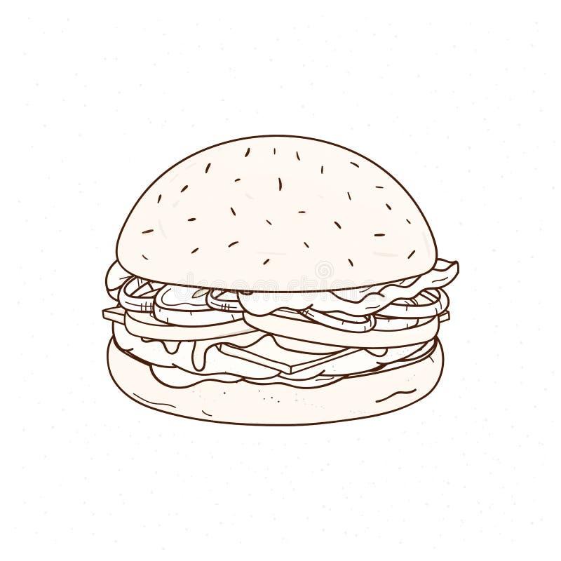 Νόστιμο χέρι χάμπουργκερ που επισύρεται την προσοχή με τις γραμμές περιγράμματος στο άσπρο υπόβαθρο Σχέδιο juicy burger ή του σάν απεικόνιση αποθεμάτων