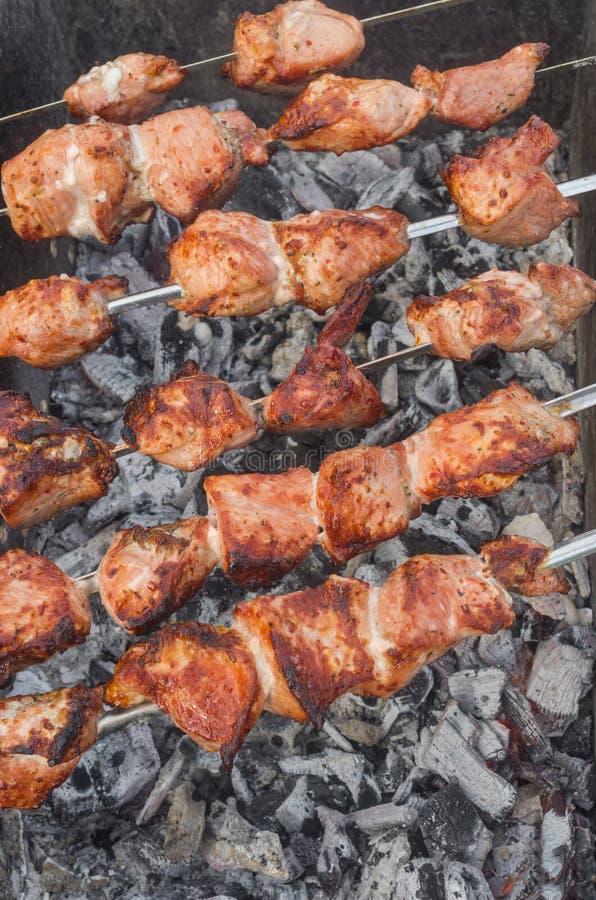 Νόστιμο χοιρινό κρέας στα οβελίδια που μαγειρεύουν στους σιγοκαίγοντας άνθρακες υπαίθρια στοκ εικόνες