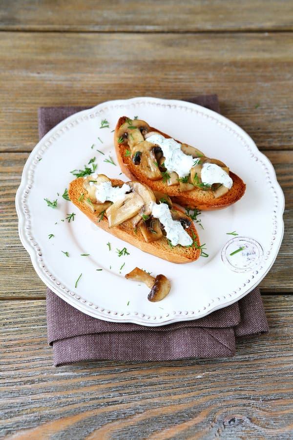 Νόστιμο bruschetta δύο με τα μανιτάρια στοκ φωτογραφία με δικαίωμα ελεύθερης χρήσης