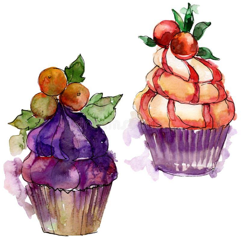 Νόστιμο cupcake σε ένα ύφος watercolor Γλυκό σύνολο απεικόνισης επιδορπίων ακουαρελών Απομονωμένο στοιχείο υποβάθρου επιδορπίων διανυσματική απεικόνιση