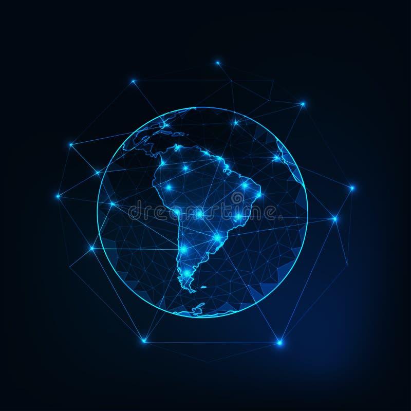Νότια Αμερική στην άποψη πλανήτη Γη από το διάστημα με το αφηρημένο υπόβαθρο περιλήψεων ηπείρων διανυσματική απεικόνιση