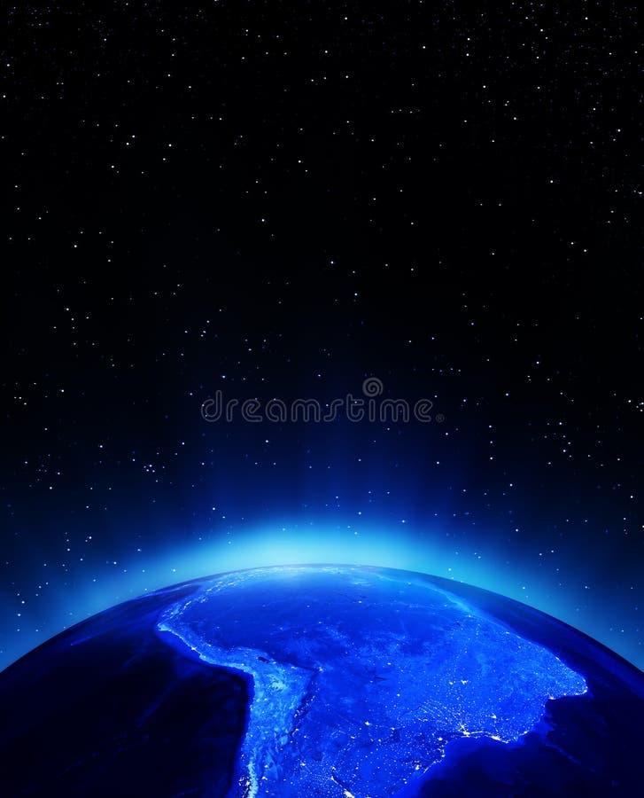 Νότια Αμερική τη νύχτα ελεύθερη απεικόνιση δικαιώματος