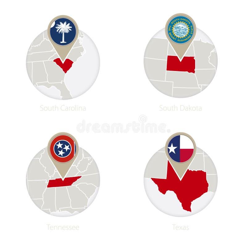 Νότια Καρολίνα αμερικανικών κρατών, νότια Ντακότα, Τένεσι, χάρτης του Τέξας και σημαία στον κύκλο ελεύθερη απεικόνιση δικαιώματος