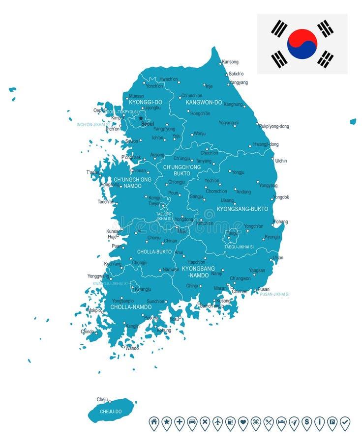 Νότια Κορέα - χάρτης και σημαία - απεικόνιση ελεύθερη απεικόνιση δικαιώματος