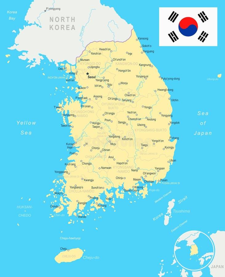 Νότια Κορέα - χάρτης και σημαία - απεικόνιση διανυσματική απεικόνιση