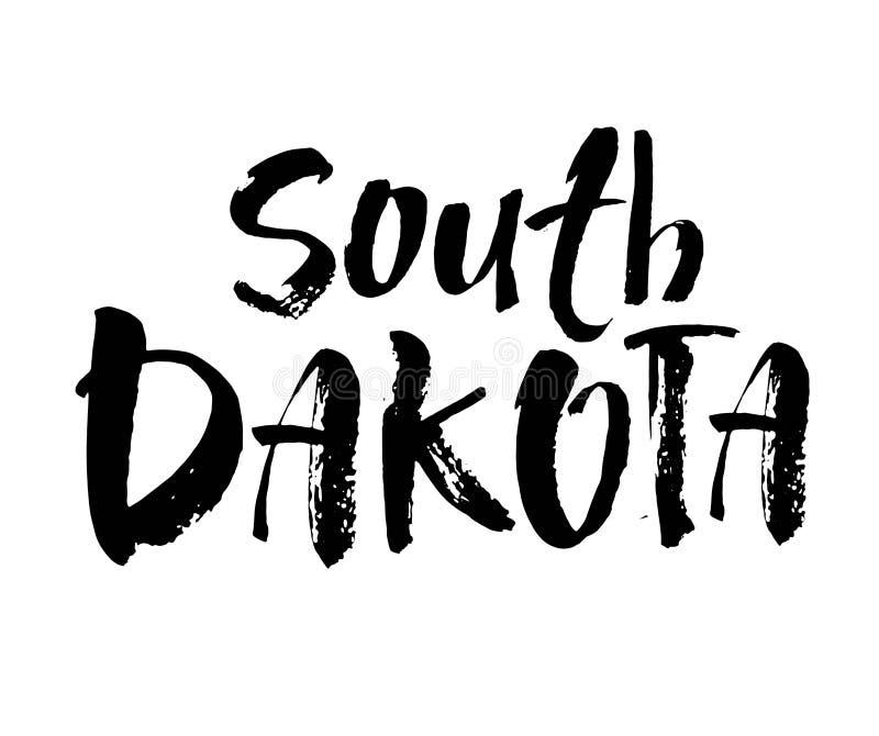 Νότια Ντακότα Αμερικανικό κράτος εγγραφή Σύγχρονη καλλιγραφία βουρτσών Συρμένη χέρι διανυσματική απεικόνιση διανυσματική απεικόνιση