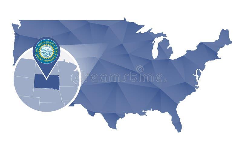 Νότια Ντακότα κράτος που ενισχύεται στον Ηνωμένο χάρτη διανυσματική απεικόνιση