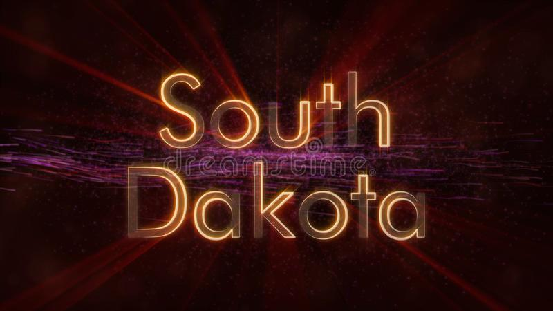 Νότια Ντακότα - λαμπρή ζωτικότητα κειμένων κρατικού ονόματος περιτύλιξης διανυσματική απεικόνιση
