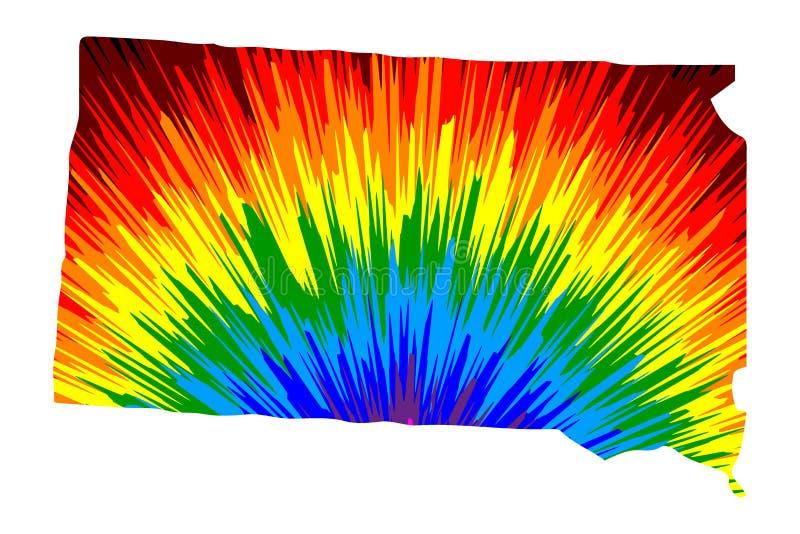Νότια Ντακότα - ο χάρτης είναι σχεδιασμένο αφηρημένο ζωηρόχρωμο σχέδιο ουράνιων τόξων απεικόνιση αποθεμάτων