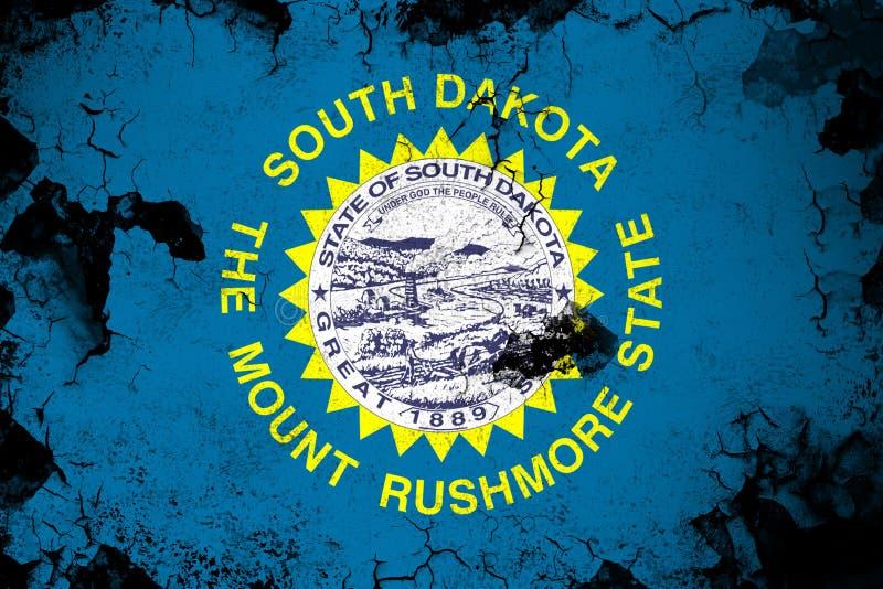 Νότια Ντακότα σκουριασμένη και grunge απεικόνιση σημαιών απεικόνιση αποθεμάτων