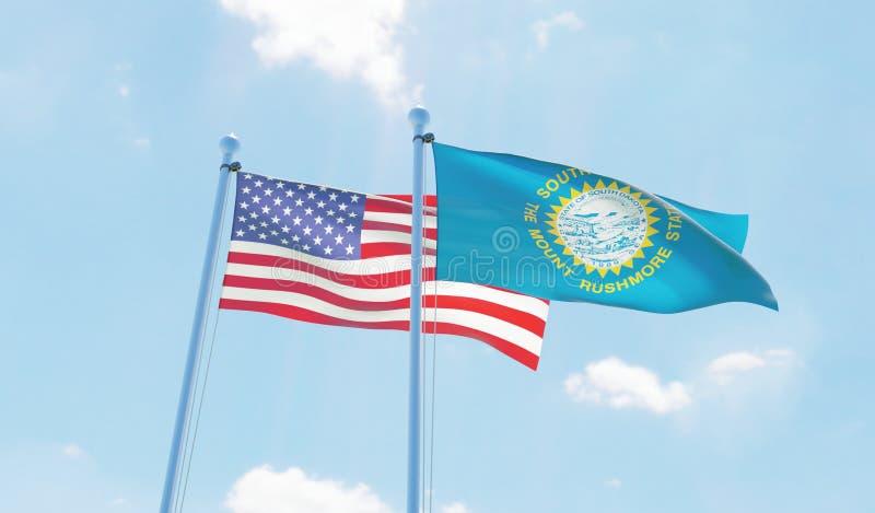 Νότια Ντακότα των ΗΠΑ και κράτους, δύο σημαίες που κυματίζει ενάντια στο μπλε ουρανό διανυσματική απεικόνιση