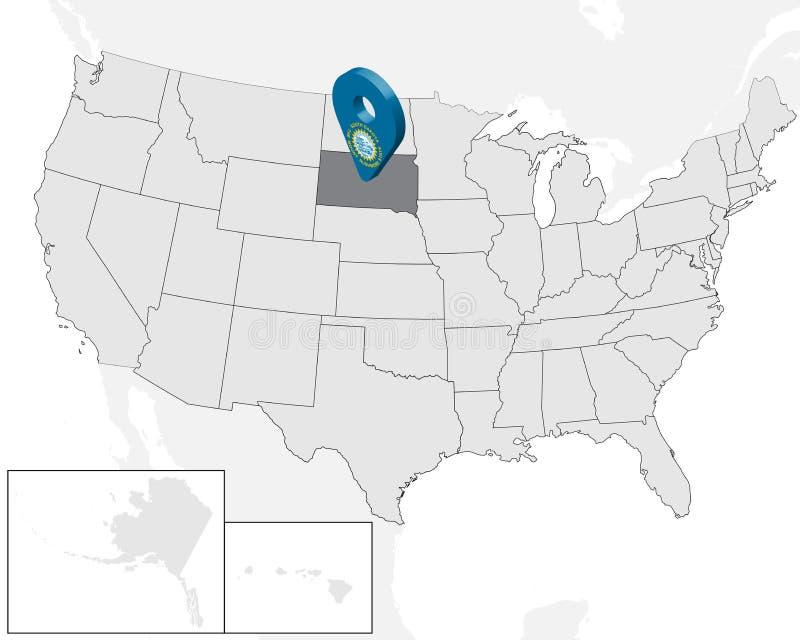 Νότια Ντακότα χαρτών θέσης στο χάρτη ΗΠΑ r τρισδιάστατο σημάδι geolocation όπως τη σημαία της Ντακότας κρατικού νότου Υψηλός - πο διανυσματική απεικόνιση