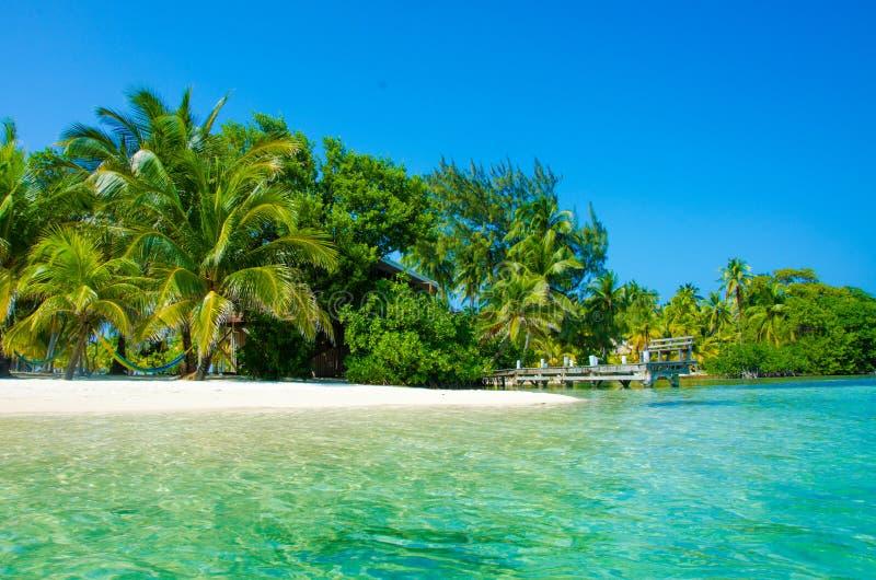 Νότιο νερό Caye στη Μπελίζ - μικρό καραϊβικό νησί παραδείσου με την τροπική παραλία για τις διακοπές και τη χαλάρωση στοκ φωτογραφία με δικαίωμα ελεύθερης χρήσης