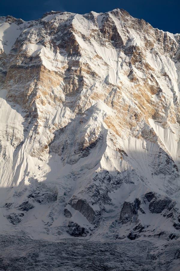 Νότιο πρόσωπο Annapurna Ι από το στρατόπεδο βάσεων Annapurna, άδυτο Annapurna, περιοχή Kaski, Νεπάλ στοκ φωτογραφία με δικαίωμα ελεύθερης χρήσης