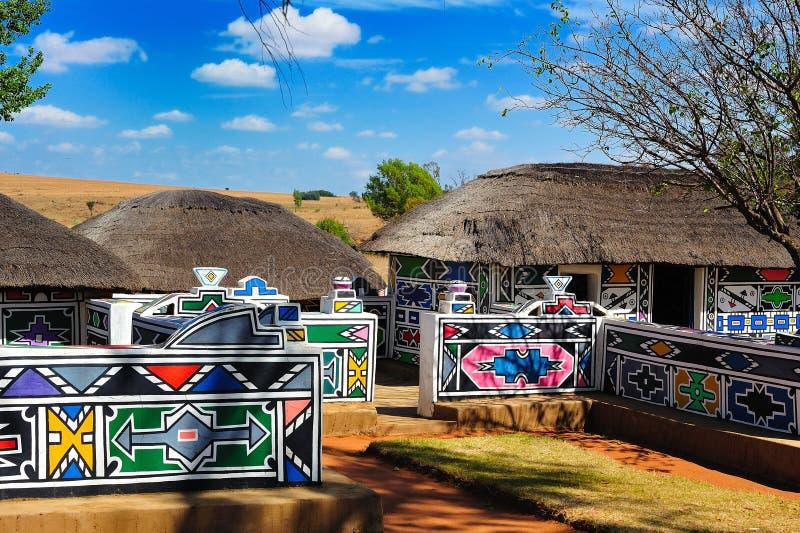 νότιο χωριό της Αφρικής ndebele στοκ εικόνες