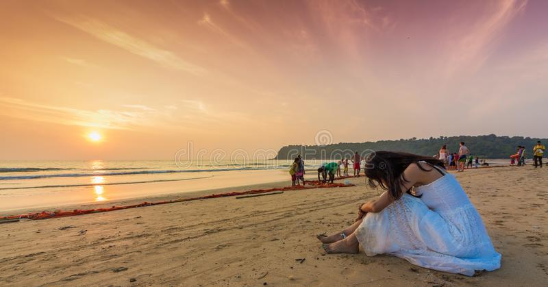 Νότος Goa, Ινδία παραλιών Agonda στοκ φωτογραφία με δικαίωμα ελεύθερης χρήσης