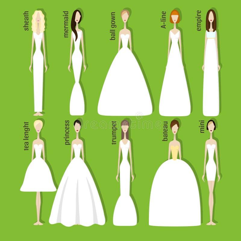 Νύφες στα διαφορετικά φορέματα απεικόνιση αποθεμάτων