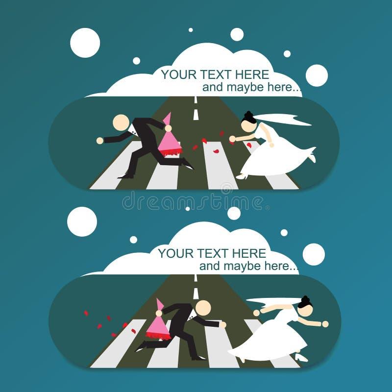 Νύφη δραπέτη/νεόνυμφος, κάρτα γαμήλιας πρόσκλησης απεικόνιση αποθεμάτων