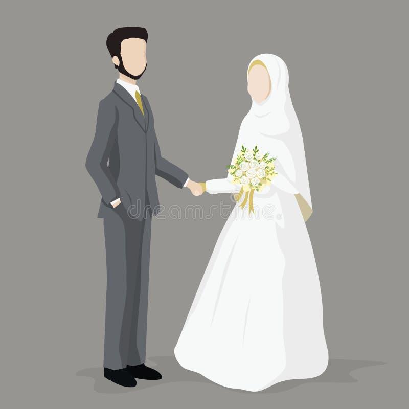 Νύφη και νεόνυμφος, ισλαμικός γαμήλιος χαρακτήρας κινουμένων σχεδίων ελεύθερη απεικόνιση δικαιώματος
