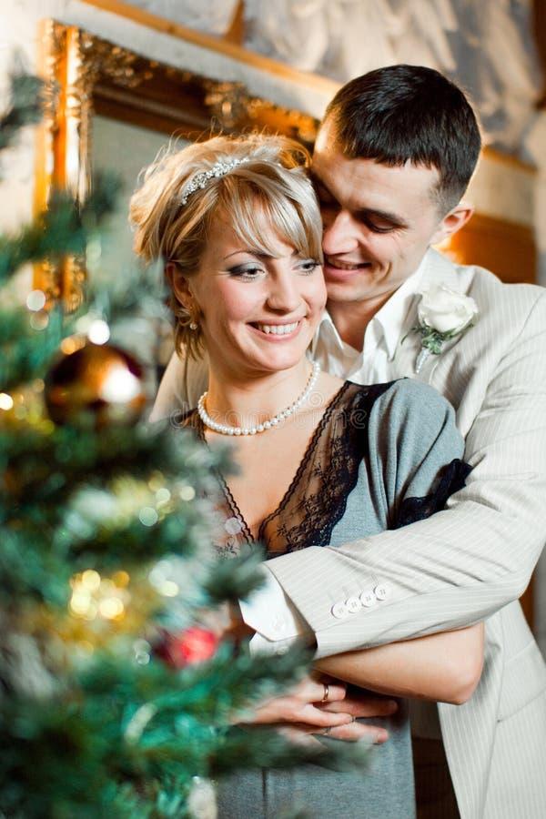 Νύφη και νεόνυμφος κοντά στο χριστουγεννιάτικο δέντρο στοκ φωτογραφίες