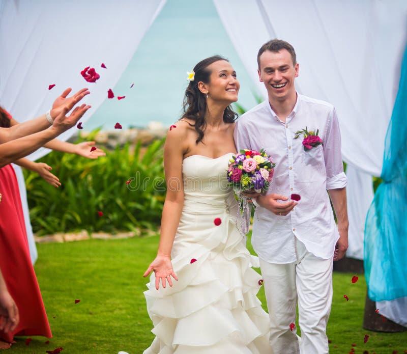 Νύφη και νεόνυμφος μετά από τη γαμήλια τελετή Οι φιλοξενούμενοι πλημμύρισαν τα newlyweds με τα ροδαλά πέταλα στο υπόβαθρο του ωκε στοκ εικόνα με δικαίωμα ελεύθερης χρήσης