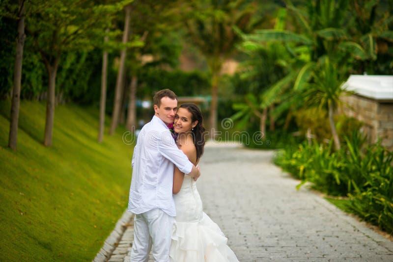 Νύφη και νεόνυμφος που αγκαλιάζουν στην αλέα στο πάρκο την ηλιόλουστη ημέρα στοκ φωτογραφίες με δικαίωμα ελεύθερης χρήσης