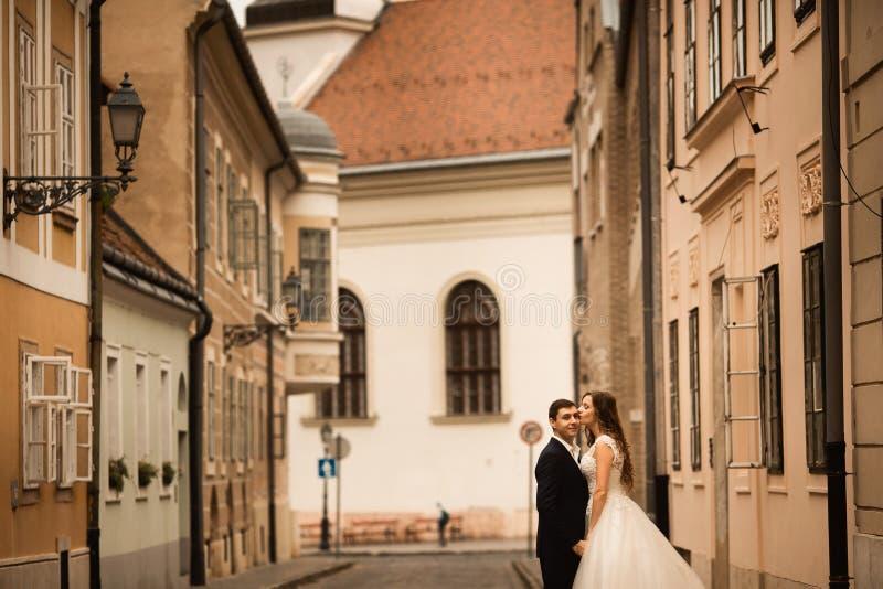 Νύφη και νεόνυμφος που αγκαλιάζουν στην παλαιά πόλης οδό Ζεύγος Weding ερωτευμένο Βοτάνισμα στη Βουδαπέστη στοκ εικόνες