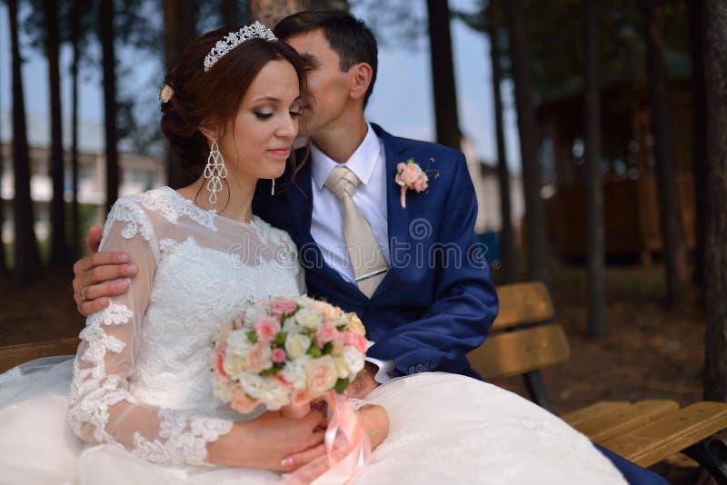 Νύφη και νεόνυμφος που αγκαλιάζουν τη συνεδρίαση φιλήματος σε ένα bech στο πάρκο στοκ εικόνες με δικαίωμα ελεύθερης χρήσης