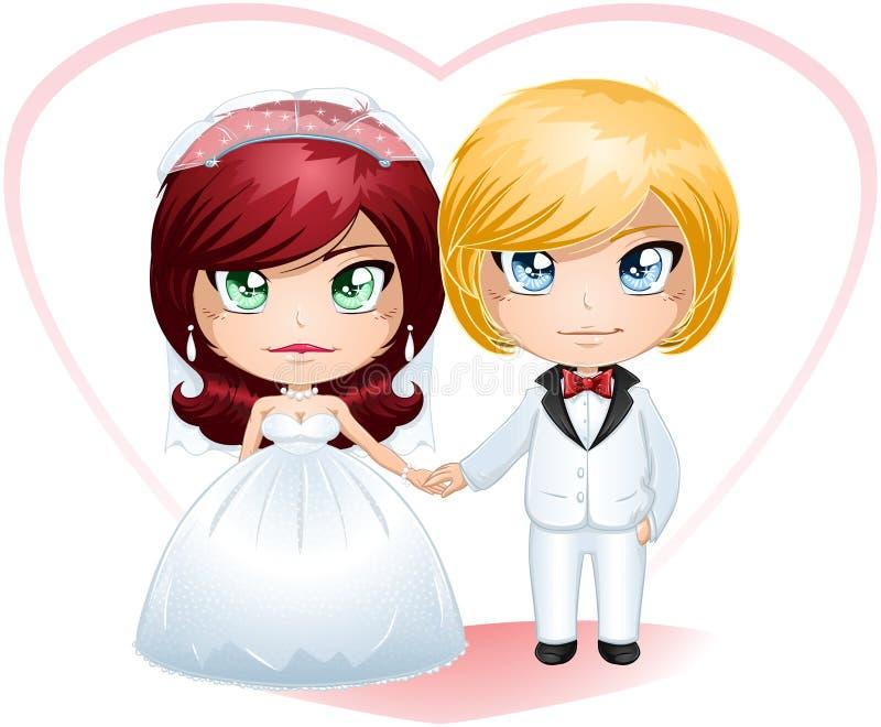 Νύφη και νεόνυμφος που παντρεύονται 4 διανυσματική απεικόνιση
