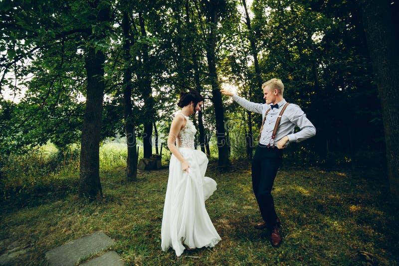 Νύφη και νεόνυμφος που χορεύουν στη φύση στοκ εικόνες με δικαίωμα ελεύθερης χρήσης