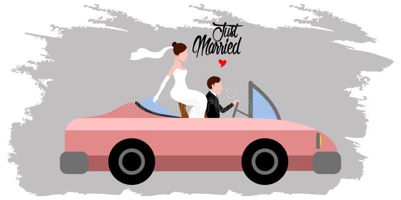 Νύφη και νεόνυμφος σε ένα αυτοκίνητο ζευγάρι ακριβώς παντρεμέν&o διανυσματική απεικόνιση