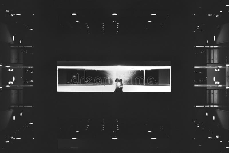 Νύφη και νεόνυμφος σκιαγραφιών στο υπόβαθρο του ξενοδοχείου στοκ εικόνα με δικαίωμα ελεύθερης χρήσης