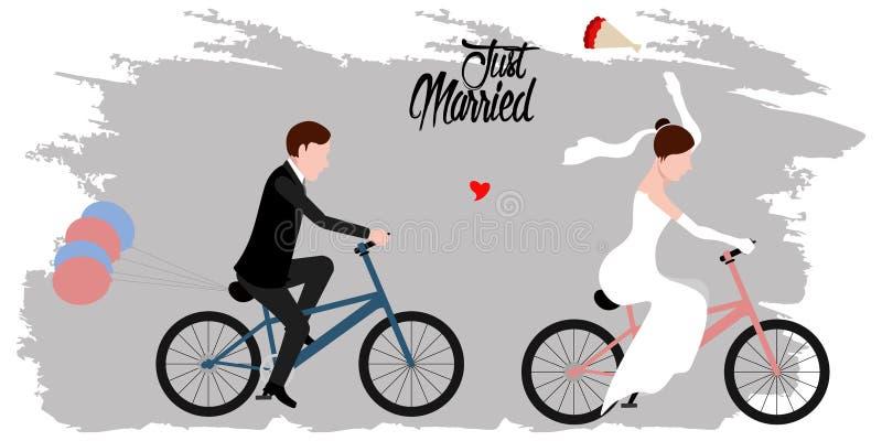 Νύφη και νεόνυμφος στα ποδήλατα ζευγάρι ακριβώς παντρεμέν&o διανυσματική απεικόνιση