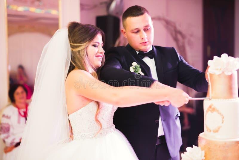Νύφη και νεόνυμφος στο γάμο που κόβει το γαμήλιο κέικ στοκ φωτογραφία