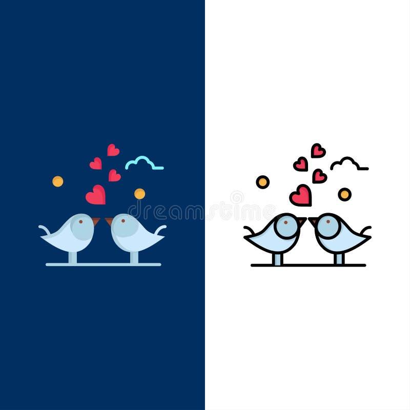 Νύφη, καρδιές, αγάπη, αγάπη, γαμήλια εικονίδια Επίπεδος και γραμμή γέμισε το καθορισμένο διανυσματικό μπλε υπόβαθρο εικονιδίων διανυσματική απεικόνιση