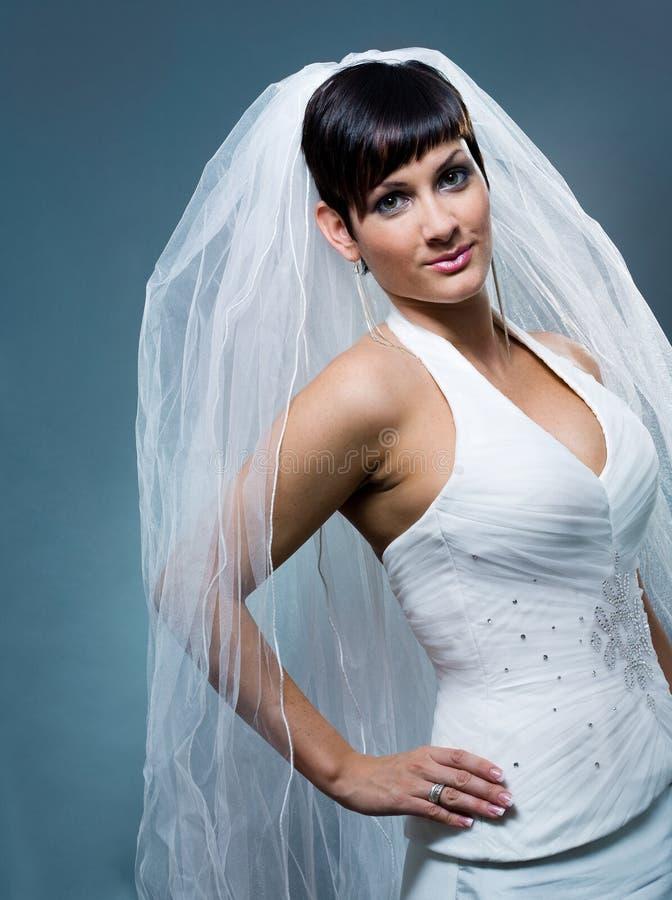 Νύφη στο γαμήλιο πέπλο στοκ φωτογραφία με δικαίωμα ελεύθερης χρήσης