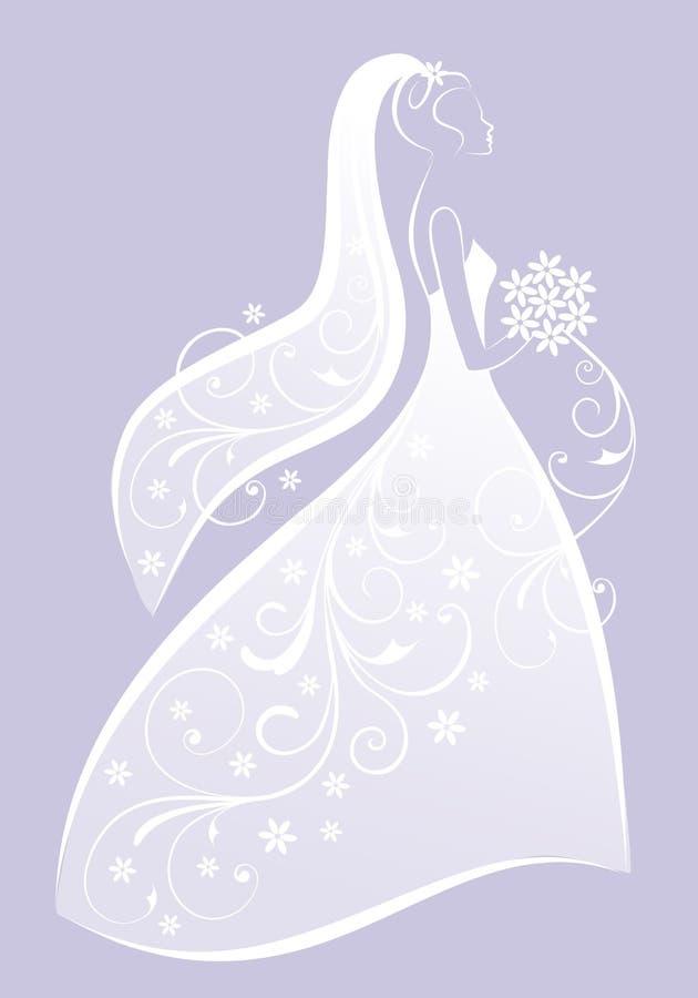 Νύφη στο γαμήλιο φόρεμα, διάνυσμα διανυσματική απεικόνιση