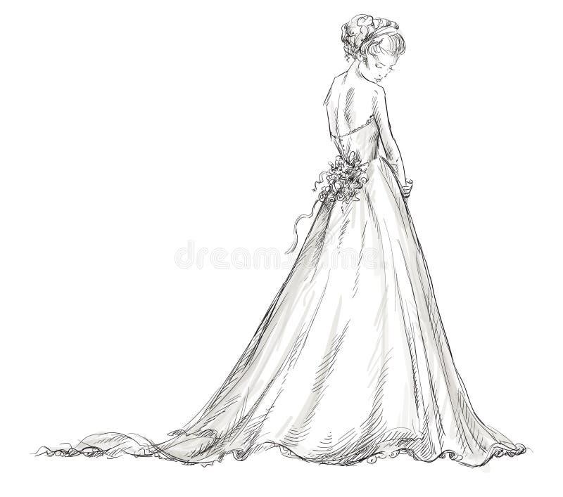 Νύφη. Όμορφο νέο κορίτσι σε ένα γαμήλιο φόρεμα. διανυσματική απεικόνιση