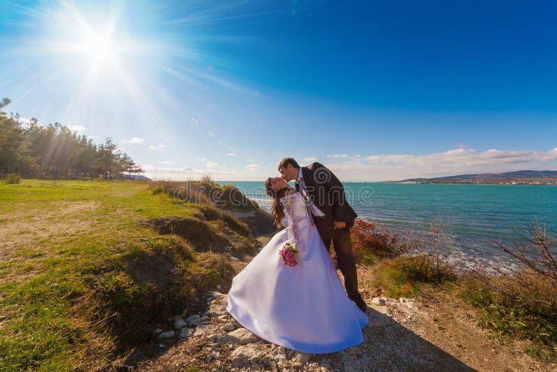 Νύφη Brunette και νεόνυμφος, θάλασσα τοπίων στοκ εικόνες με δικαίωμα ελεύθερης χρήσης