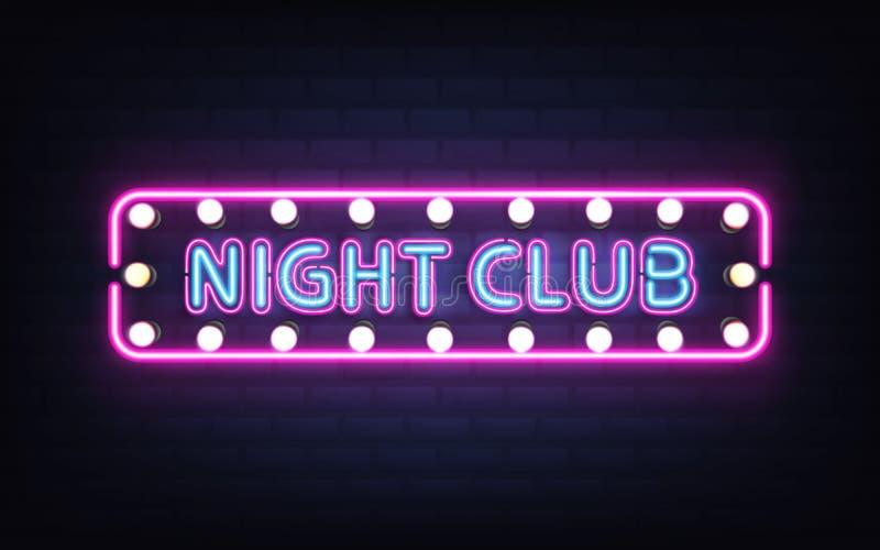 Νύχτας λεσχών ρεαλιστικό διάνυσμα πινακίδων νέου αναδρομικό ελεύθερη απεικόνιση δικαιώματος
