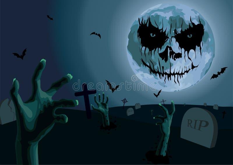 Νύχτα αποκριών: πανσέληνος με το τρομακτικό νεκροταφείο συγκίνησης με το grav ελεύθερη απεικόνιση δικαιώματος