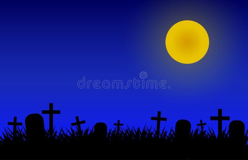 Νύχτα αποκριών στο νεκροταφείο με τη μάγισσα, τα ρόπαλα και τις κολοκύθες διανυσματική απεικόνιση