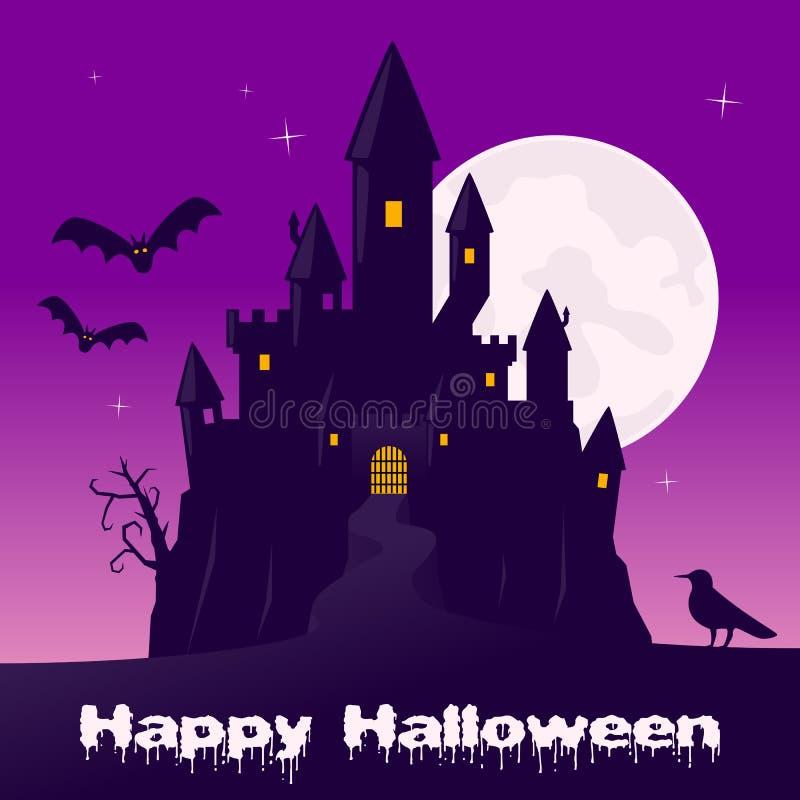 Νύχτα αποκριών - τρομακτικό φάντασμα Castle διανυσματική απεικόνιση