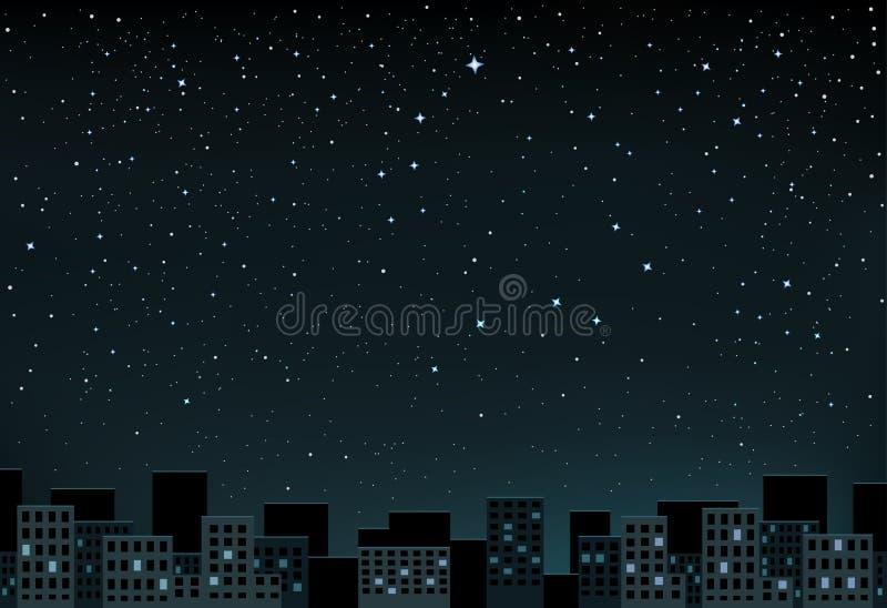 Νύχτα αστεριών πέρα από την πόλη διανυσματική απεικόνιση